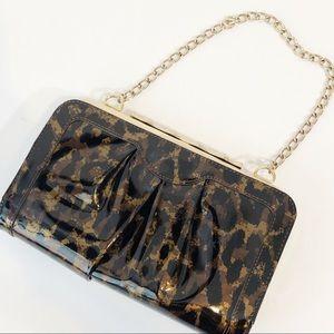 Elaine Turner patent leopard clutch bag w chain